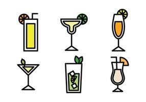 Bevande icone delineate vettore