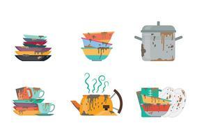 Vettore delle icone dei piatti sporchi