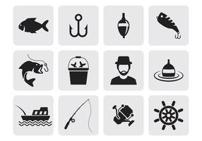 Vettore delle icone di pesca