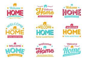 Vettore di tipografia casa benvenuto colorato gratis