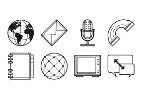 Vettore libero dell'icona di media e di comunicazione