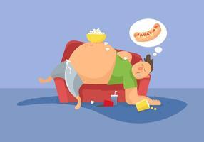 Illustrazione vettoriale di ragazzo grasso
