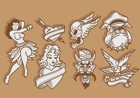 Vettore delle icone del tatuaggio della vecchia scuola