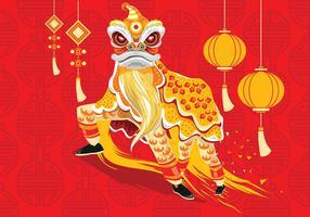 Illustrazione vettoriale tradizionale cinese Lion Dance Festival Background