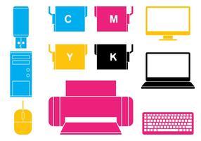 Set di icone di elettronica dell'ufficio vettore