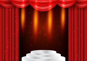 Teatro Red Curtains con sfondo di fulmini