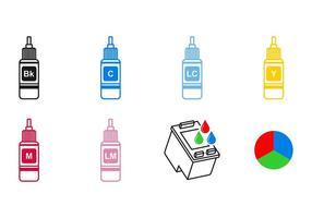 Vettori di icone di cartuccia di inchiostro