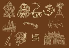 Set di icona di Mumbai vettore