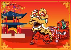 Disegno di Capodanno cinese di danza del leone vettore
