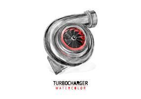 Vettore dell'acquerello del turbocompressore