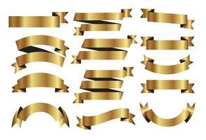 Set vettoriale di nastri d'oro