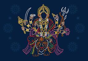 Dea Durga Line Art vettore