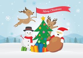 Babbo Natale e amici scena di Natale vettore