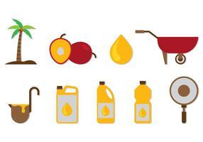 Set di icone di olio di palma vettore