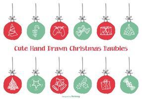 Bagattelle di Natale di stile disegnato a mano sveglio