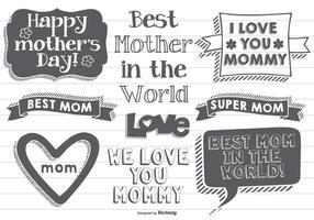 Etichette della Festa della mamma disegnate a mano vettore