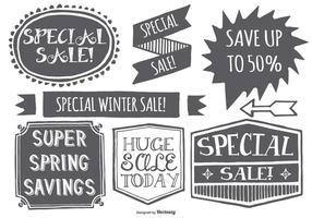 Etichette di vendita promozionale stile disegnato a mano