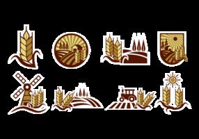 Etichette di campo di riso vettore