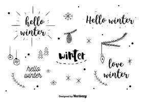 Vettore di etichette invernali