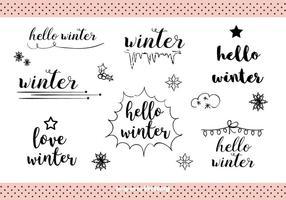 Vettore di etichette disegnate a mano inverno