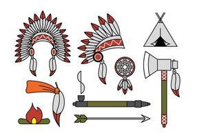 Vettori capo indiano mascotte e copricapo