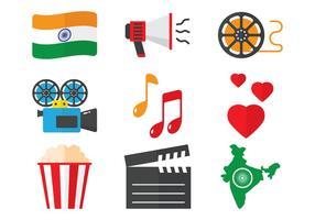 Bollywood icone piane vettore