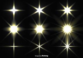 Insieme vettoriale di stelle incandescente