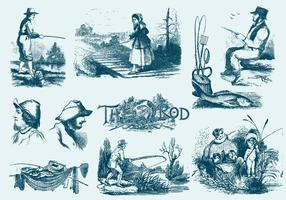 Illustrazioni di canna da pesca blu vettore