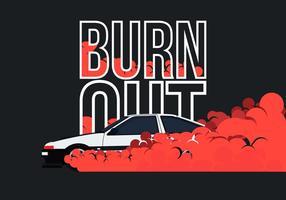 ae86 auto alla deriva e illustrazione di burnout vettore