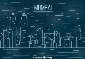 Vettore di paesaggio urbano di linea di Mumbai