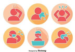 Vettore delle icone di dolore e afflizione