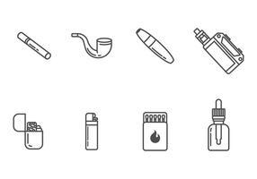 Icone di fumo e sigaretta vettore