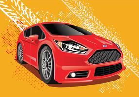 Illustrazione vettoriale di Ford Fiesta con sfondo di solchi