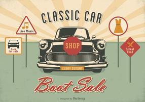 Poster di vettore di vendita di avvio di auto classico gratis