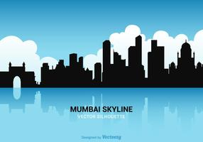 Vettore gratuito Silhouette Skyline di Mumbai