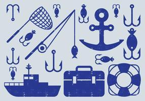 Icone degli elementi di pesca vettore
