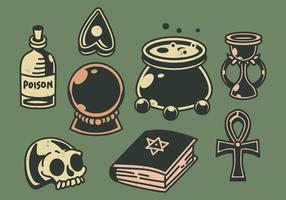 Set di doodle magico retrò vettore