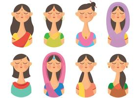 Vettore indiano libero delle icone della donna