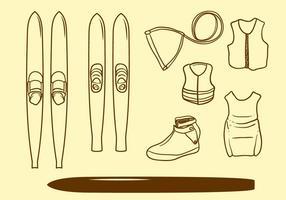 Vettore disegnato a mano dello sci nautico