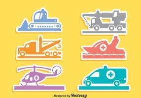 Vettore delle icone di trasporto di emergenza