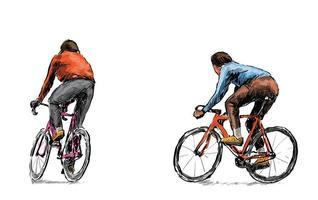 schizzo di ciclisti che guidano biciclette a scatto fisso
