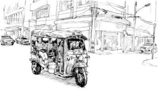 schizzo di un risciò auto in uno sfondo di città