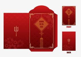 Disegno del pacchetto di denaro Capodanno cinese rosso vettore