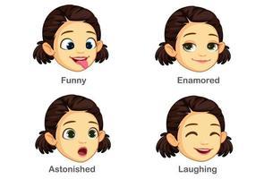 set di espressioni facciali della ragazza vettore