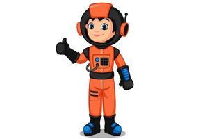 carino piccolo bambino astronauta che mostra il pollice