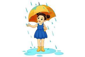 bambina carina con l'ombrello che gode della pioggia vettore