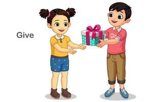 ragazzino che fa un regalo a una bambina vettore
