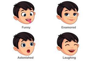 ragazzo con diverse espressioni facciali parte 4 vettore