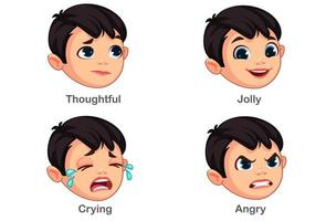 ragazzo con diverse espressioni facciali parte 3 vettore