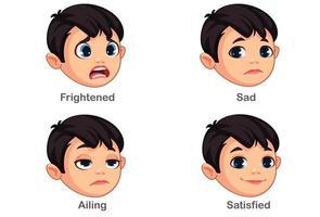 ragazzo con diverse espressioni facciali parte 2 vettore